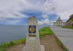Zero Kilometer marker for Camino de Santiago de Compostela in Finesterre, Spain